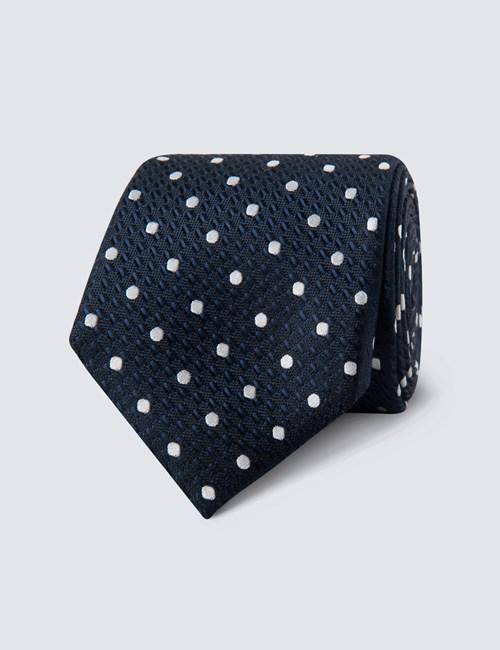 Men's Navy & White Even Spot Tie - 100% Silk