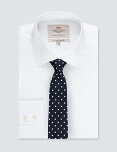 Men's Navy & White Even Spot Tie - 100% Silk