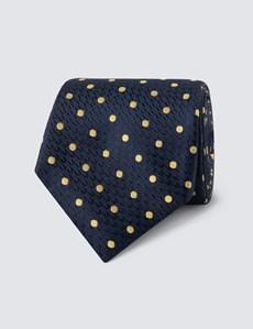 Krawatte – Seide – Standardbreite – Marine mit Tupfen gelb