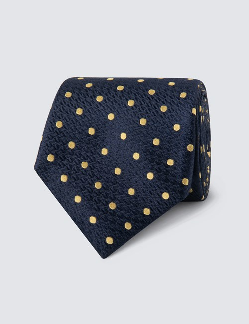 Men's Navy & Yellow Even Spot Tie - 100% Silk