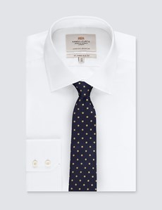 Men's Navy & Yellow Even Spot Tie - 100% Silk