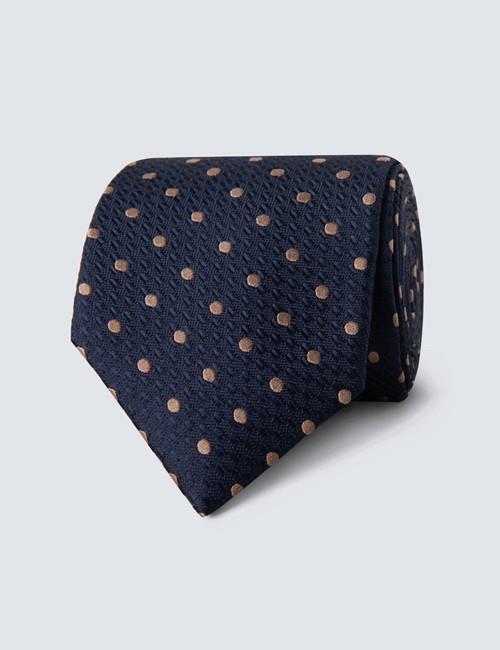 Men's Navy & Brown Even Spot Tie - 100% Silk
