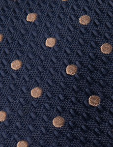 Men's Navy & Brown Even Spot Tie - 100% Silk