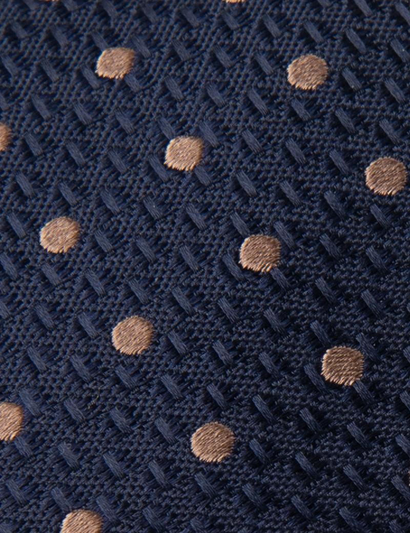 Krawatte – Seide – Standardbreite – Navy mit Tupfen braun