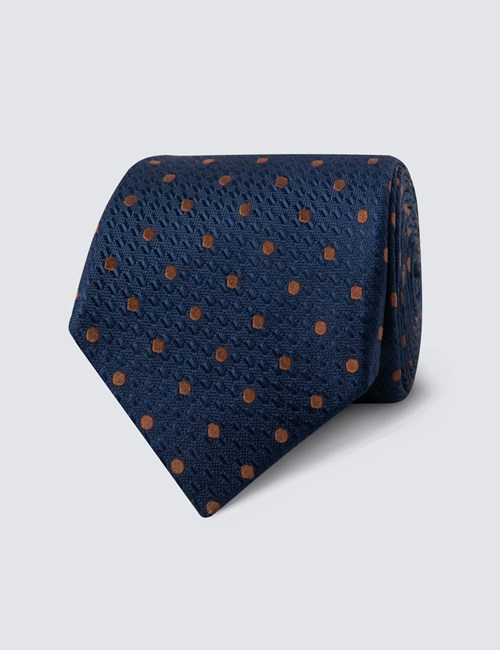 Men's Navy & Camel Even Spot Tie - 100% Silk