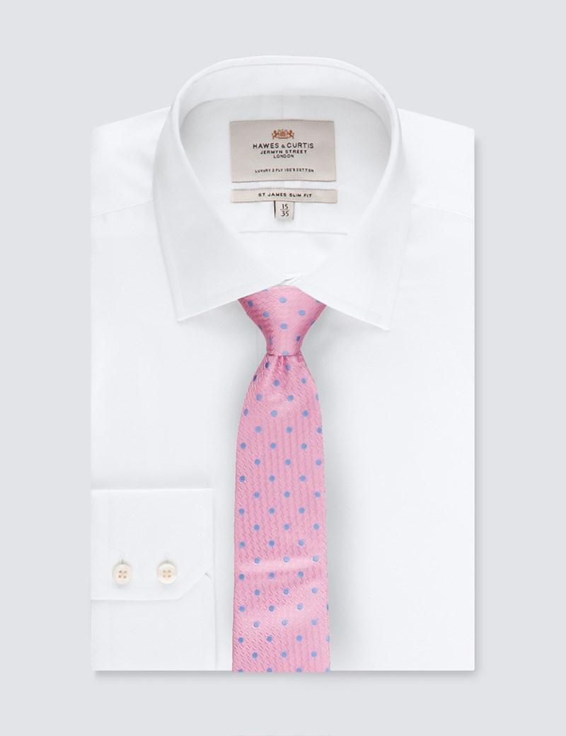 Krawatte – Seide – Standardbreite – Hellpink mit Tupfen blau