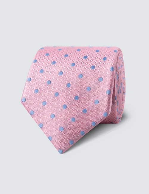 Men's Light Pink & Blue Even Spot Tie - 100% Silk