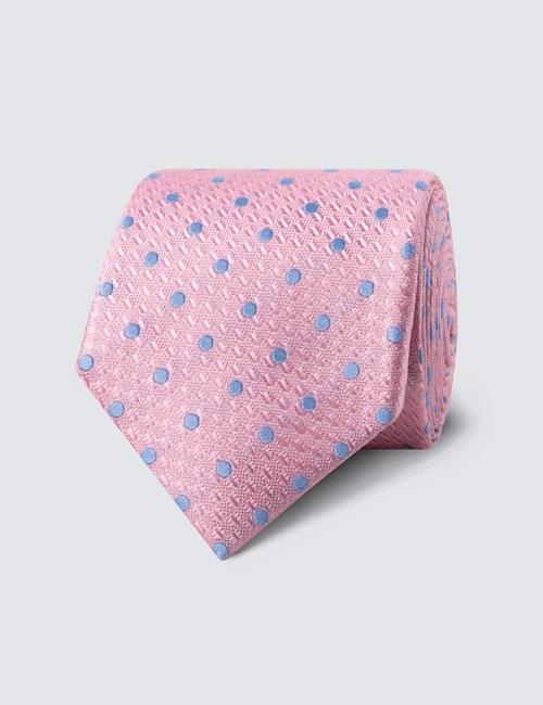 Men's Light Pink & Blue Even Spot Tie - 100% Silk