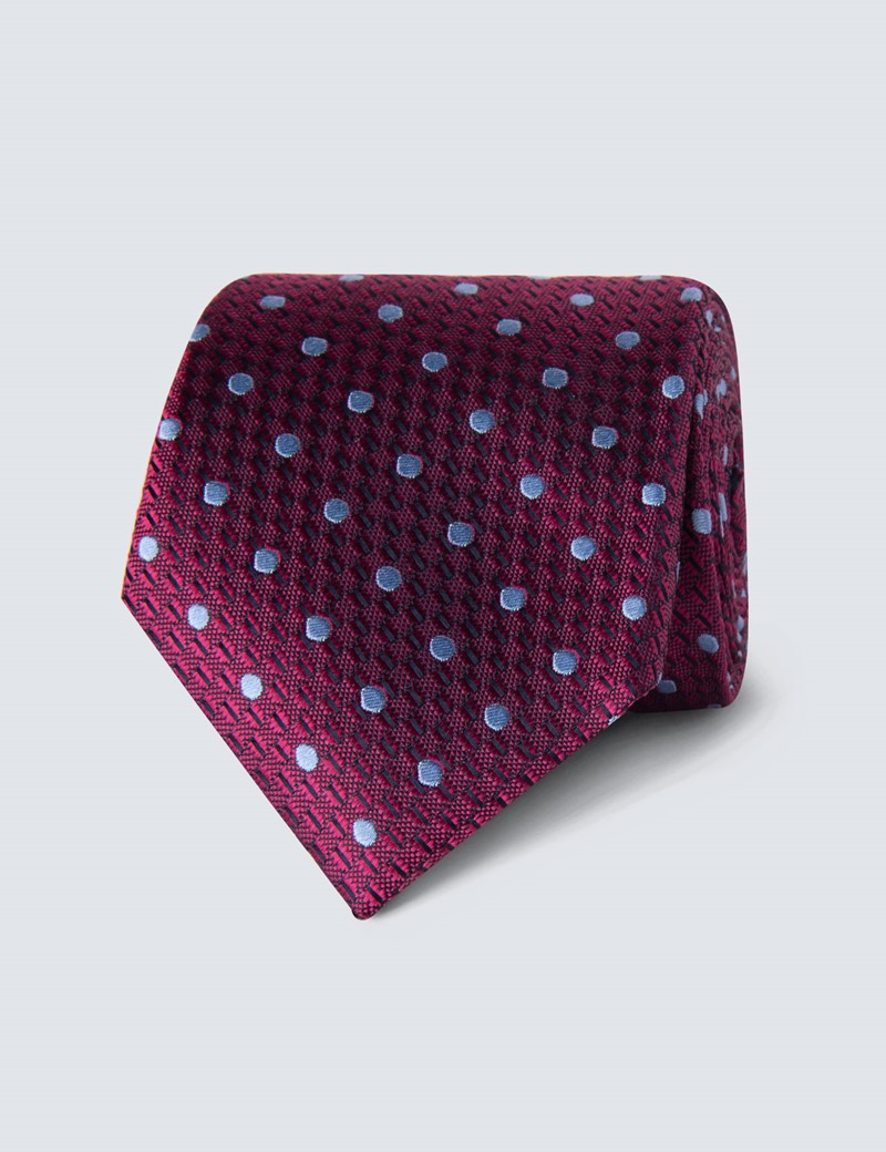 Men's Fuchsia & Blue Even Spot Tie - 100% Silk