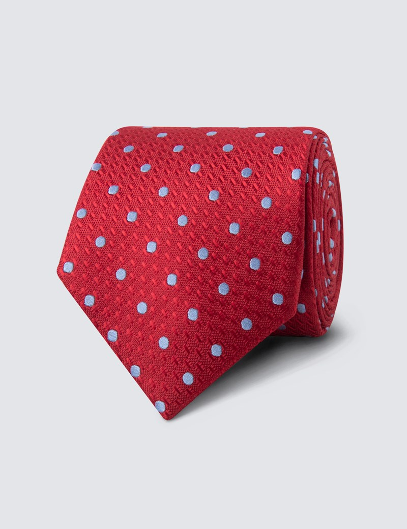 Men's Red & Light Blue Even Spot Tie - 100% Silk