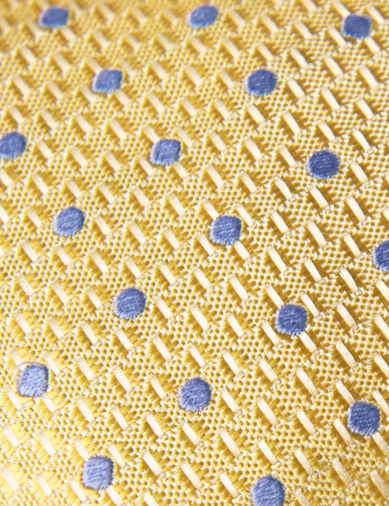 Men's Yellow & Light Blue Even Spot Tie - 100% Silk