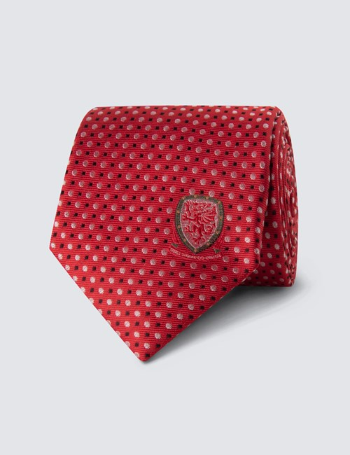 Men's Red, Black & White Wales National Football Spot Tie - 100% Silk