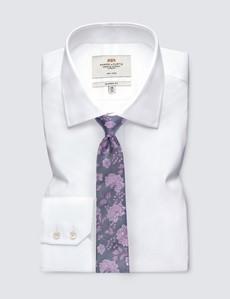 Men's Grey Floral Print Tie - 100% Silk
