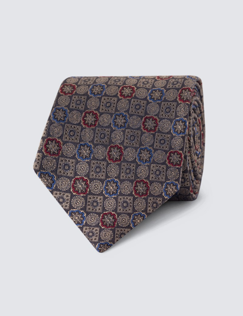 Men's Brown Geometric Print Tie - 100% Silk