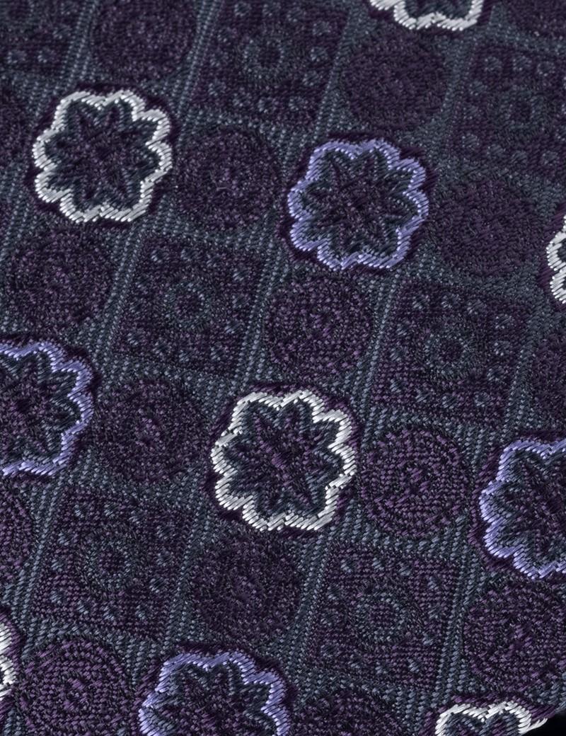 Men's Purple Geometric Print Tie - 100% Silk