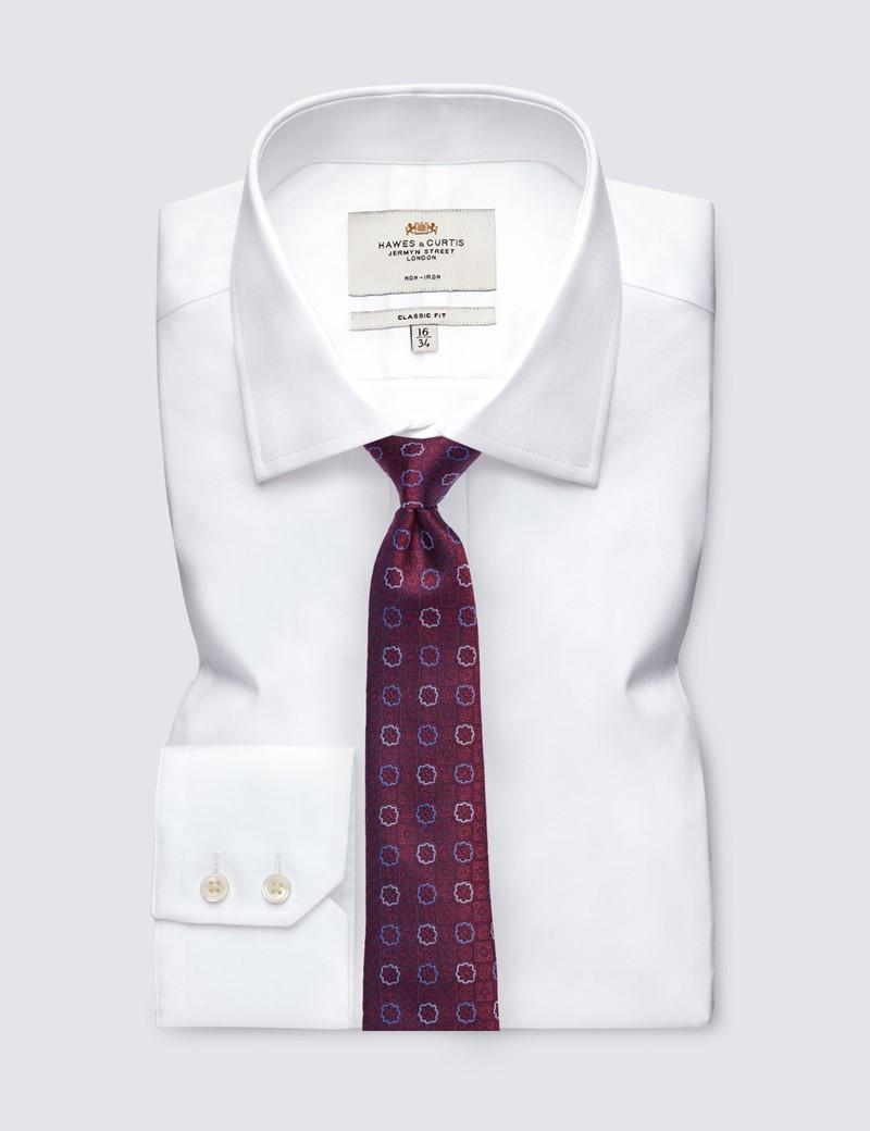 Men's Burgundy Geometric Print Tie - 100% Silk