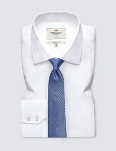 Men's Blue Geometric Print Tie - 100% Silk