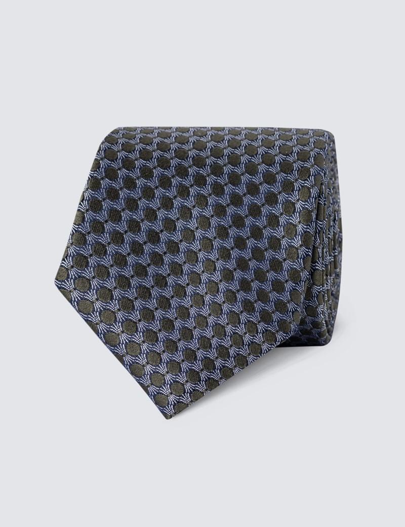 Men's Green Geometric Print Tie - 100% Silk