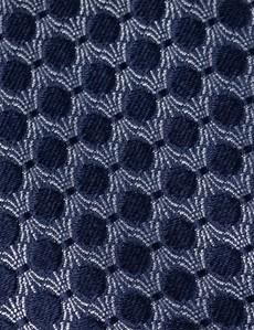 Men's Navy Geometric Print Tie - 100% Silk