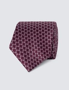 Men's Wine Geometric Print Tie - 100% Silk