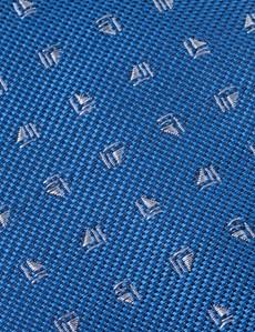 Men's Royal Blue Small Dash Print Tie - 100% Silk