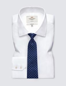 Men's Navy Small Dash Print Tie - 100% Silk