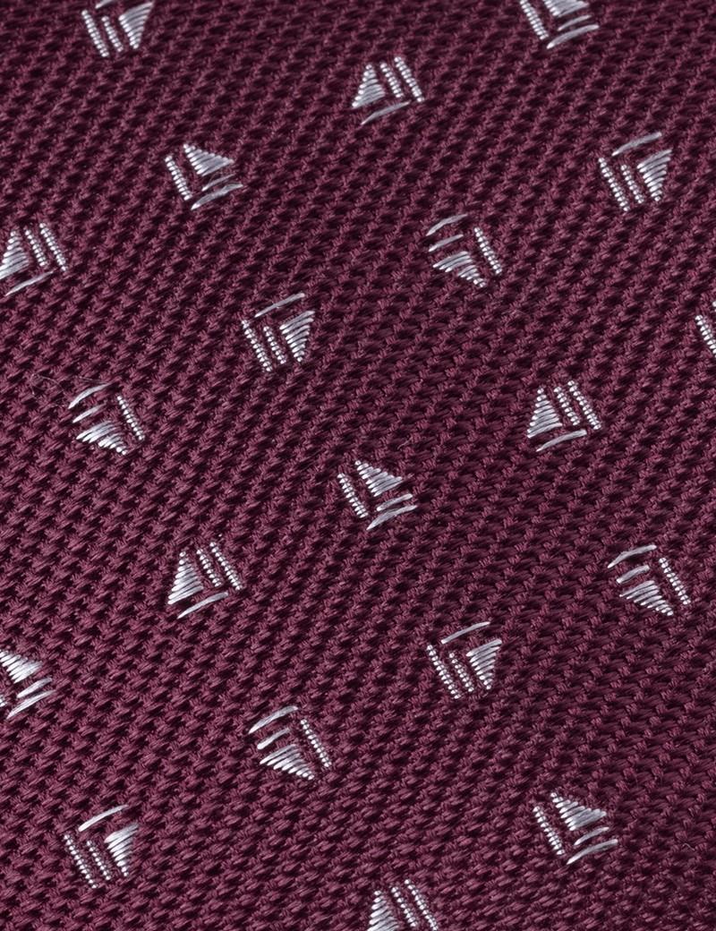 Men's Wine Small Dash Print Tie - 100% Silk