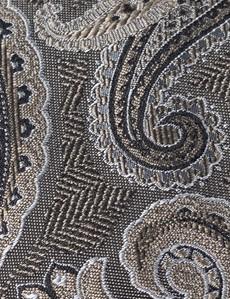 Men's Taupe Paisley Tie - 100% Silk