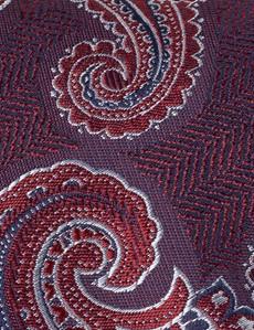 Men's Red Paisley Tie - 100% Silk