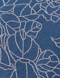 Men's Blue Leaf Print Tie - 100% Silk