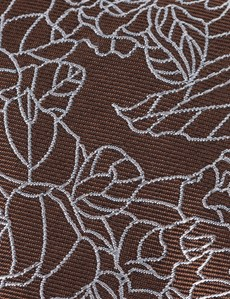 Men's Brown Leaf Print Tie - 100% Silk