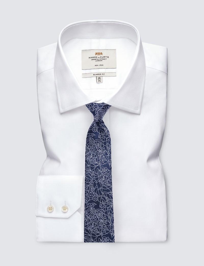 Men's Navy Leaf Print Tie - 100% Silk