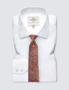 Men's Orange Leaf Print Tie - 100% Silk