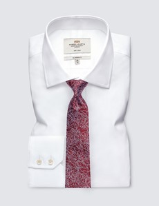 Men's Red Leaf Print Tie - 100% Silk