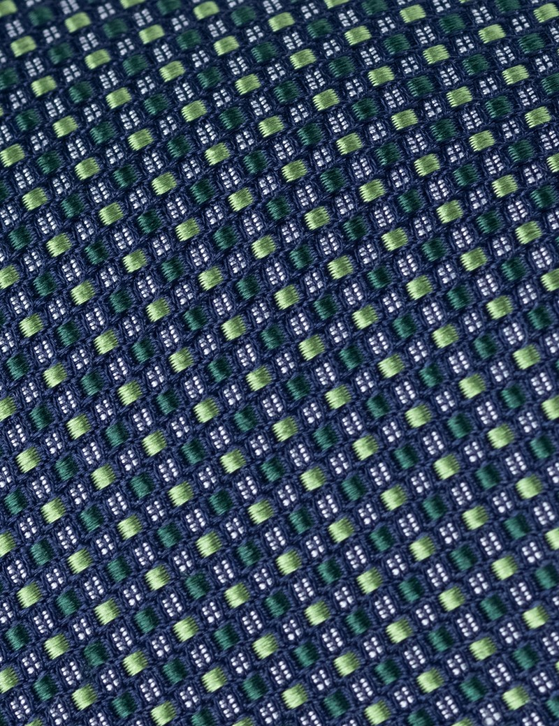 Men's Green 2 Tone Squares Print Tie - 100% Silk