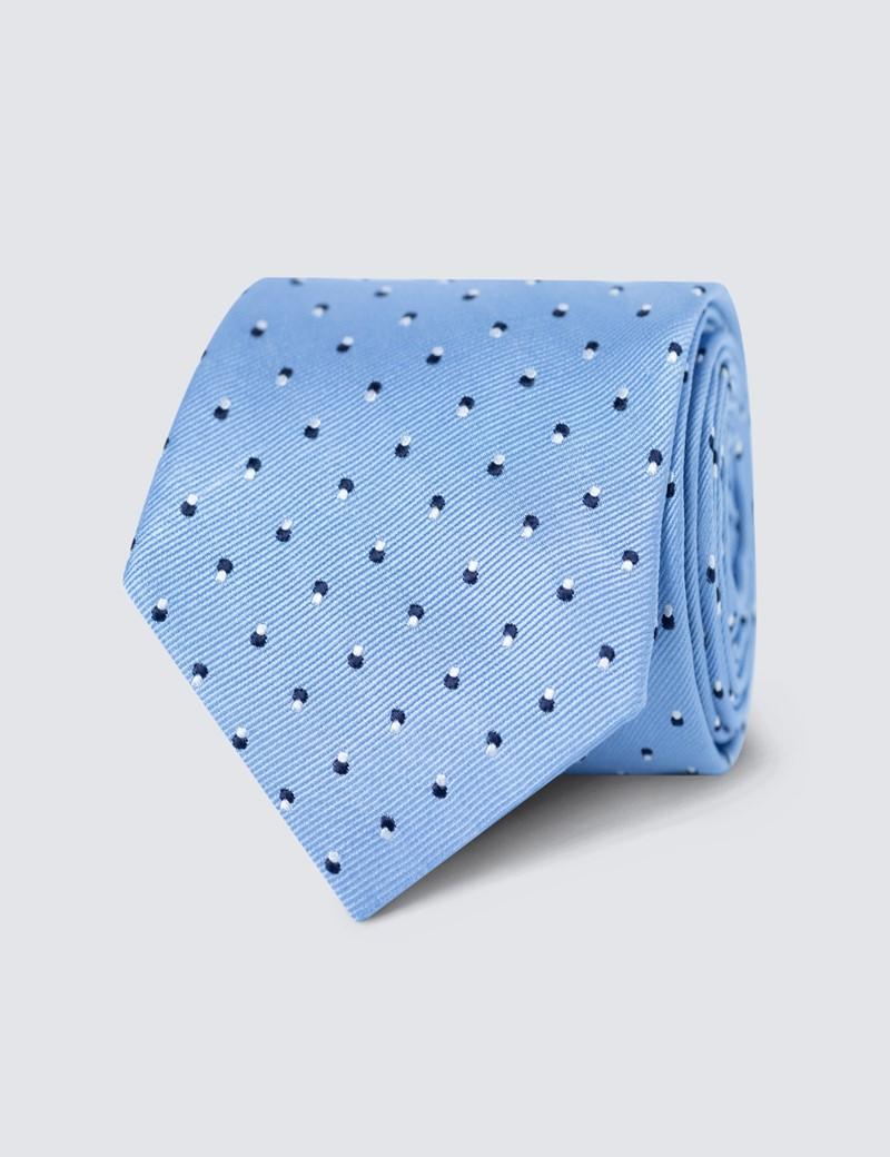 Men's Light Blue Dotted Print Tie - 100% Silk