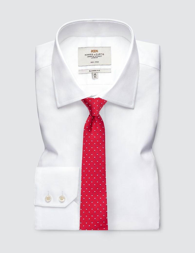 Men's Red Dotted Print Tie - 100% Silk