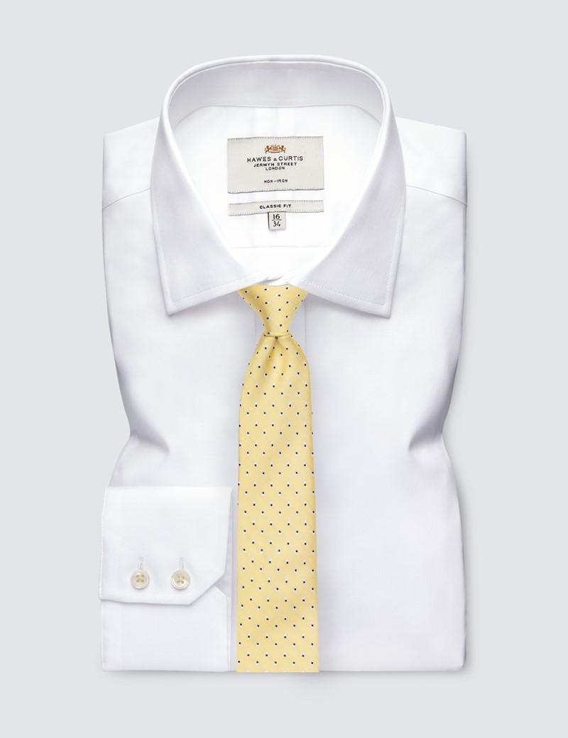 Men's Yellow Dotted Print Tie - 100% Silk