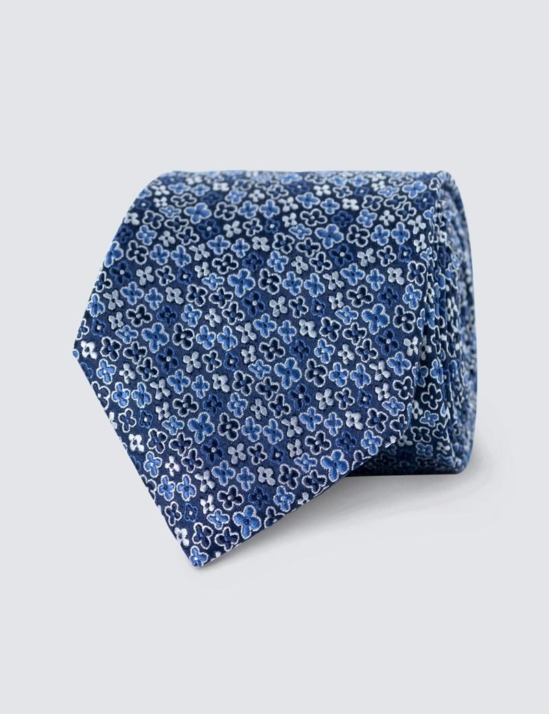 Men's Blue Printed Tie - 100% Silk
