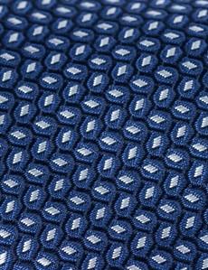 Men's Navy Dashes Printed Tie - 100% Silk