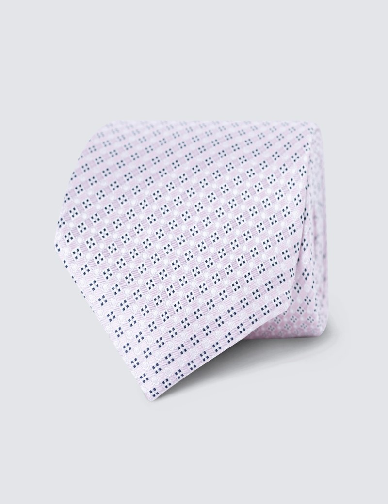 Men's Pink Small Squares Tie - 100% Silk