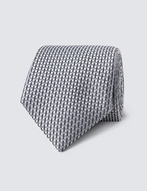 Men's Grey Neat Lattice Tie - 100% Silk