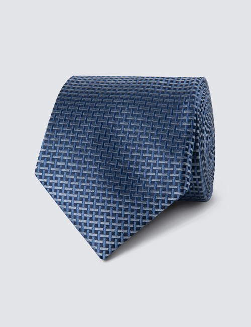 Men's Navy Neat Lattice Tie - 100% Silk