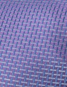 Men's Lilac Neat Lattice Tie - 100% Silk