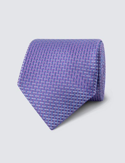 Men's Lilac Neat Lattice Tie - 100% Silk