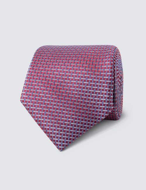 Men's Red Neat Lattice Tie - 100% Silk