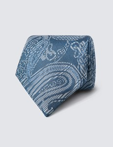 Men's Blue Tonal Paisley Tie - 100% Silk