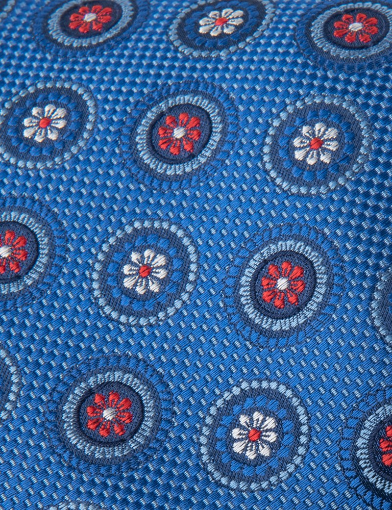 Men's Royal Blue Geometric Medallions Tie - 100% Silk