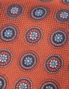 Men's Orange Geometric Medallions Tie - 100% Silk