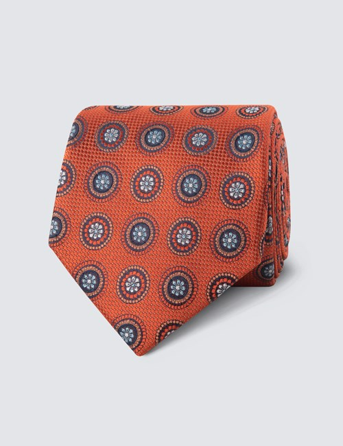 Men's Orange Geometric Medallions Tie - 100% Silk